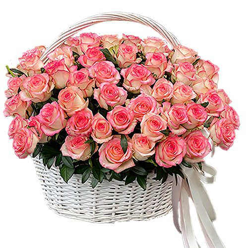 "51 роза ""Джумилия"" в корзине фото"
