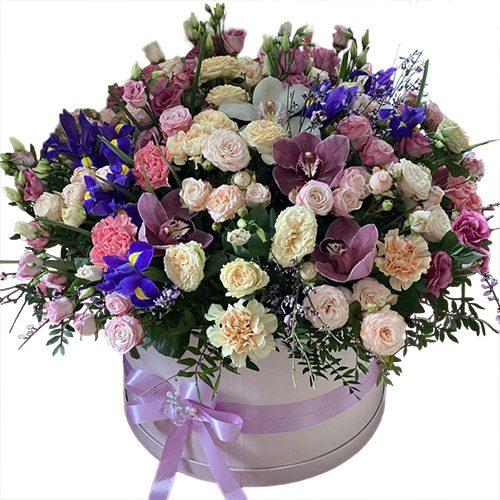 """Шляпная коробка """"Дорогая"""" микс цветов"""